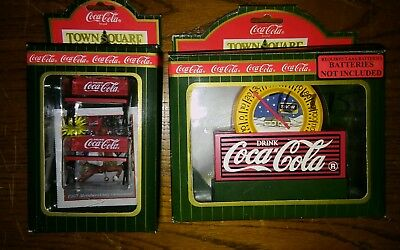 Coca-Cola 1996 Town Square Sets Park Bench 64319 & Thermometer 64348 NEW in Box