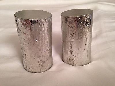 Pair of 2 METALLIC SILVER resin tree trunk / stump sculptures or small stands