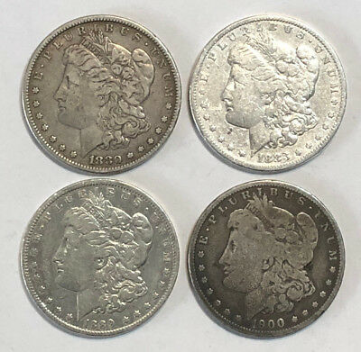 A Lot of 4 Pre 1921 $1 Morgan Silver Dollars, 1880, 1883, 1889-O & 1900-0