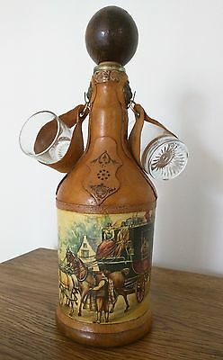 vintage 1970s Italy leather & paper covered wine or liquor bottle EXCELLENT!
