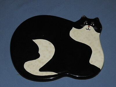 Black White Fat Cat Kitty Trivet Painted Wall Plaque Art Pottery