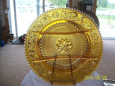 Indiana Glass Tiara Pattern Divided Honey Amber Sawtooth Sandwich Serving Plate