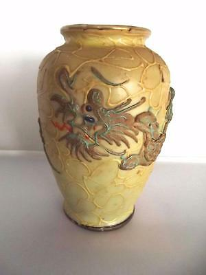 Vintage Yellow Moriage Dragonware Small Vase Blue Eyed Dragon Made Japan