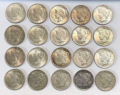 A Lot of 20 $1 Silver Peace Dollars