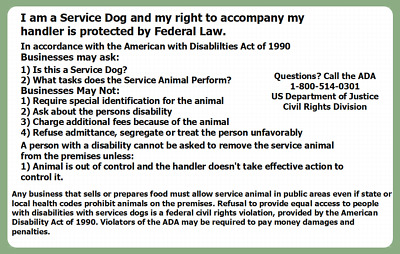 Airline Service Dog Ada Law Info Rights Card Hard Plastic Id W/ Holder Badge