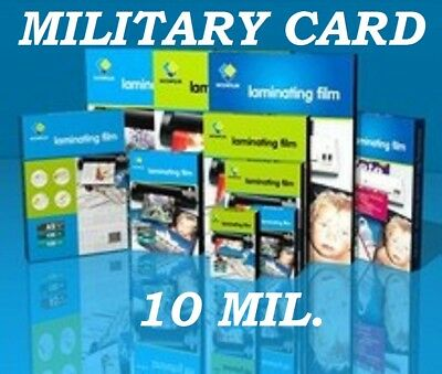 Clear 500 pack MILITARY CARD Laminating Laminator Pouches 2-5/8 x 3-7/8 10 Mil