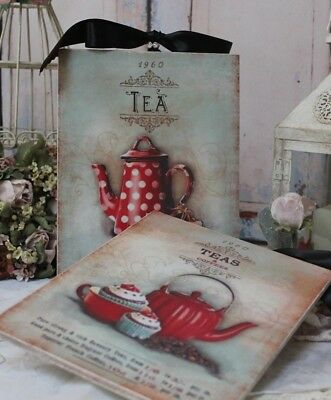 """Teas and Coffees"" ~ Shabby Chic Vintage Country Cottage style Wall Decor Sign"