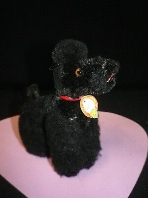 """4"""" Vintage Steiff Jointed Black Mohair Poodle """" Snobby"""""""