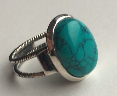 Big 925 Sterling Silver Ladies/Mens Turquoise Stone Oval Ring -Various Sizes