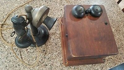 Antique CANDLESTICK TELEPHONE w/WOOD BOX has INSIDE CONTENTS,CRANK, Phone Receiv