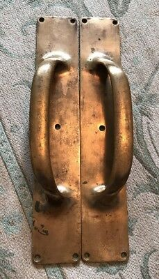 Superb Pair Large 1920's Brass Door Pull Handles Architectural Salvage
