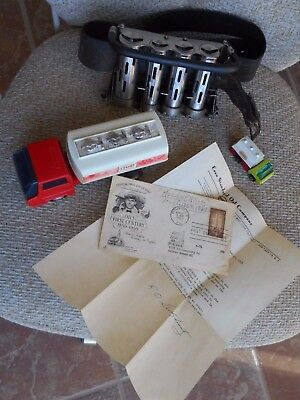 ESSO memorabilia: 1959 First Day Cover / vintage Coin Changer / two Toy Trucks