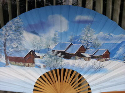 Original Hand Painted  FAN CANVAS on  Bamboo ''Snow on the  Mountain'' 5 ft wide