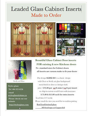 Kitchen  Cabinet Door glass  inserts  Made to Order