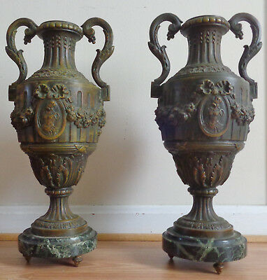 "Antique pair of finely cast heavy bronze 16"" urns on marble base"