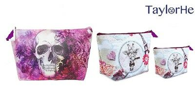 TaylorHe Make-up Bag Cosmetic Case Toiletry Bag Printed PVC zipped top Pink Flor