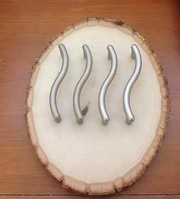 """243 VTG MidCentury Handles Pewter Tone About 3-3/4"""" Hole To Hole 4 Pc"""