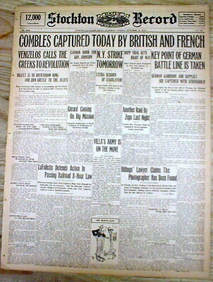 1916 WW I display newspaper w banner headline THE BATTLE of the SOMME in FRANCE