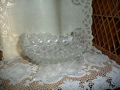 Daisy & Button Clear Large Christmas Glass Sleigh Sled Wright Fenton, Huge!!