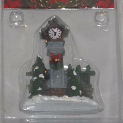 NEW Christmas Holiday Rite Aid Village Accessories Village Clock Fence Snow  NIP