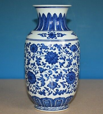 Antique Chinese Porcelain Vase Blue And White Qianlong Mark Rare K5818