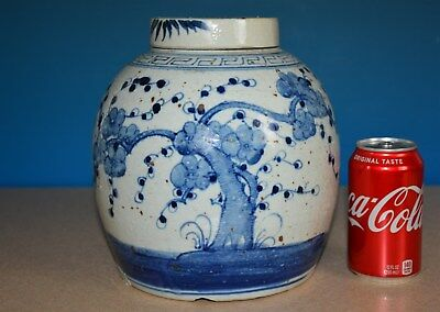 Antique Chinese Blue And White Porcelain Jar Old Large Tea Jar Rare T9223