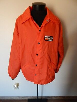 Vintage nylon Golden Sun Feeds Orange XXL coat Jacket with Patch furry lined