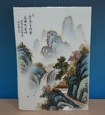 Antique Chinese Porcelain Plaque Famille Rose Marked Master Wang Yeting N8490