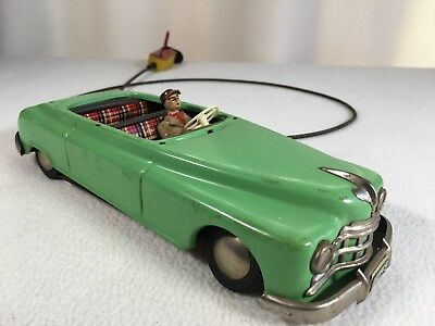 """Vintage Toy Car Remote Hand Crank Controlled West Germany 10"""" Crank Works Green"""