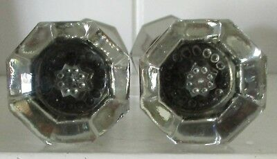 2 Pair Vintage Antique 8 Point Glass Door Knob Sets/ Brass With Rod /dark inside