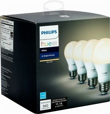 Brand New Sealed Philips Hue A19 Smart Wi-Fi Led Bulbs White Dimmable 4 Pack