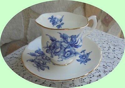 Vintage Crown Staffordshire Fine Bone China Tea Cup/saucer Blue Flowers~~England