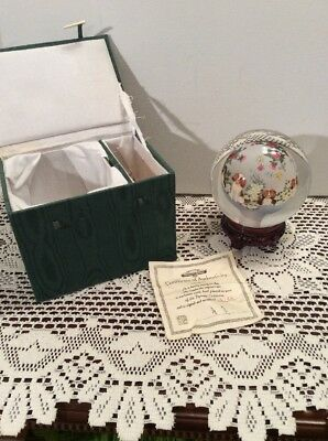 "Dynasty Crystal 4"" Globe Reverse Hand Painted Dogs Flowers w/ Base Box & COA LE"
