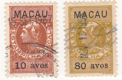 Portugal, Lot of 2 Older Used Fiscal Stamps, Black Macau Surcharges, 120PL1