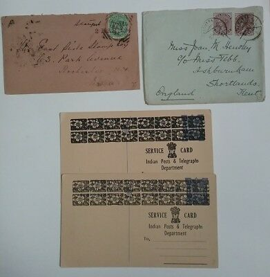 kerryyw India Queen Victoria covers + 2 telegraph cards, lot #1