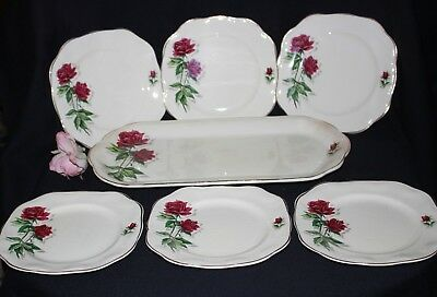 vintage sandwich set plate 6x bread butter plates REGENCY BRITISH ANCHOR ENGLAND