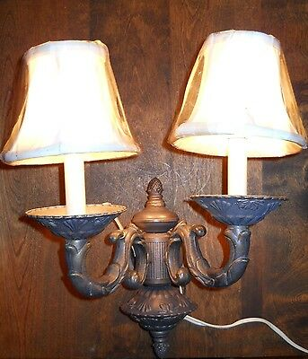 AF LIGHTING Ornate Antique Bronze 2 Arm WALL SCONCE LIGHT with Silk Shades-New