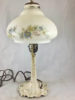Antique Table Lamp Painted Ornate Cast Iron Base White Floral Glass Shade 15 in