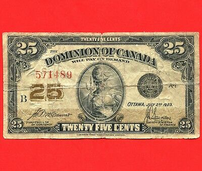 1923 Dominion Of Canada 25 Cent ( Shinplaster ) Bank Note S/N B 571489