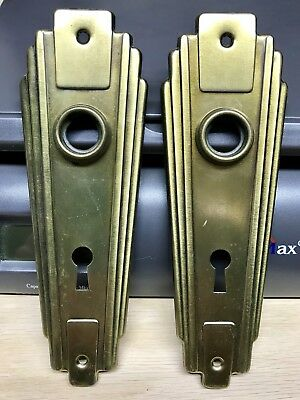 Vintage Pair 2 Brass Art Deco Door Knob Back Plates Salvage