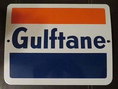 Vintage Original Gulf Gulftane Gas Pump Plate (Single Sided Porcelain Sign)