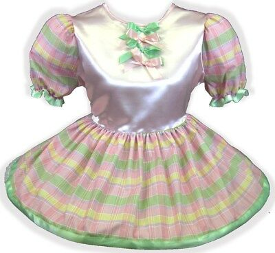 "50"" PINK SATIN Plaid BOWS Adult Little Girl Baby Sissy Dress LEANNE"