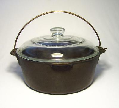 WAGNER WARE & GRISWOLD ~ Vintage Cast Iron 5 Qt. DUTCH OVEN w/GLASS LID (C)~ USA