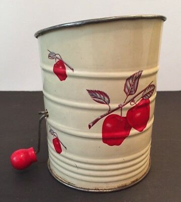 VINTAGE Tin Flour Sifter, Cream With Apples, Red Handle