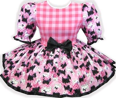 "45"" PINK Gingham Scottie BOWS Adult Little Girl Baby Sissy Dress LEANNE"