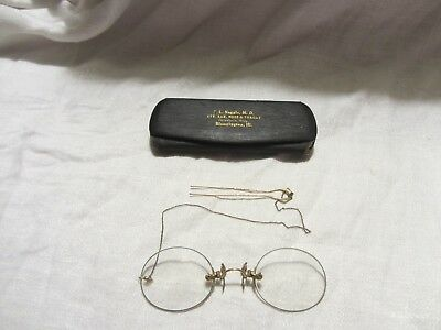Antique 12K Gold Rimless Pince Nez Spectacles / Eyeglasses with Case