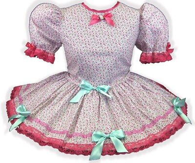 "40"" HOT PINK Flowers BOWS Adult Little Girl Baby Sissy Dress LEANNE"