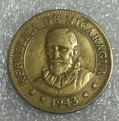 🇳🇮nicaragua 1943 Coin • 5 Cents • Key Date • Low Mintage • Scarce Coin •