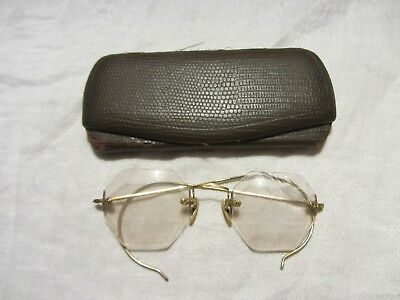 Antique B & L 14K GOLD EYEGLASSES WITH CASE