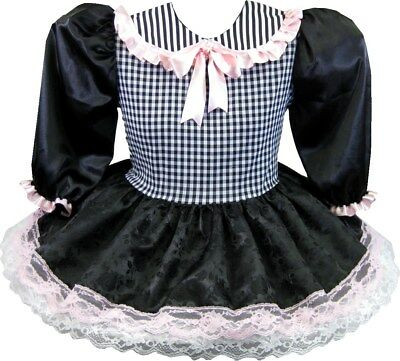 "38"" Black Brocade Gingham PINK Bow Adult Little Girl Baby Sissy Dress LEANNE"